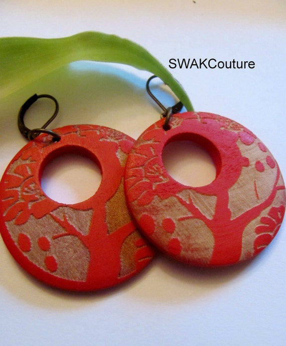 Large Wooden Tree of Life Earrings Red & Wood Hoop Earrings Bohemian style or CHOOSE Your Color