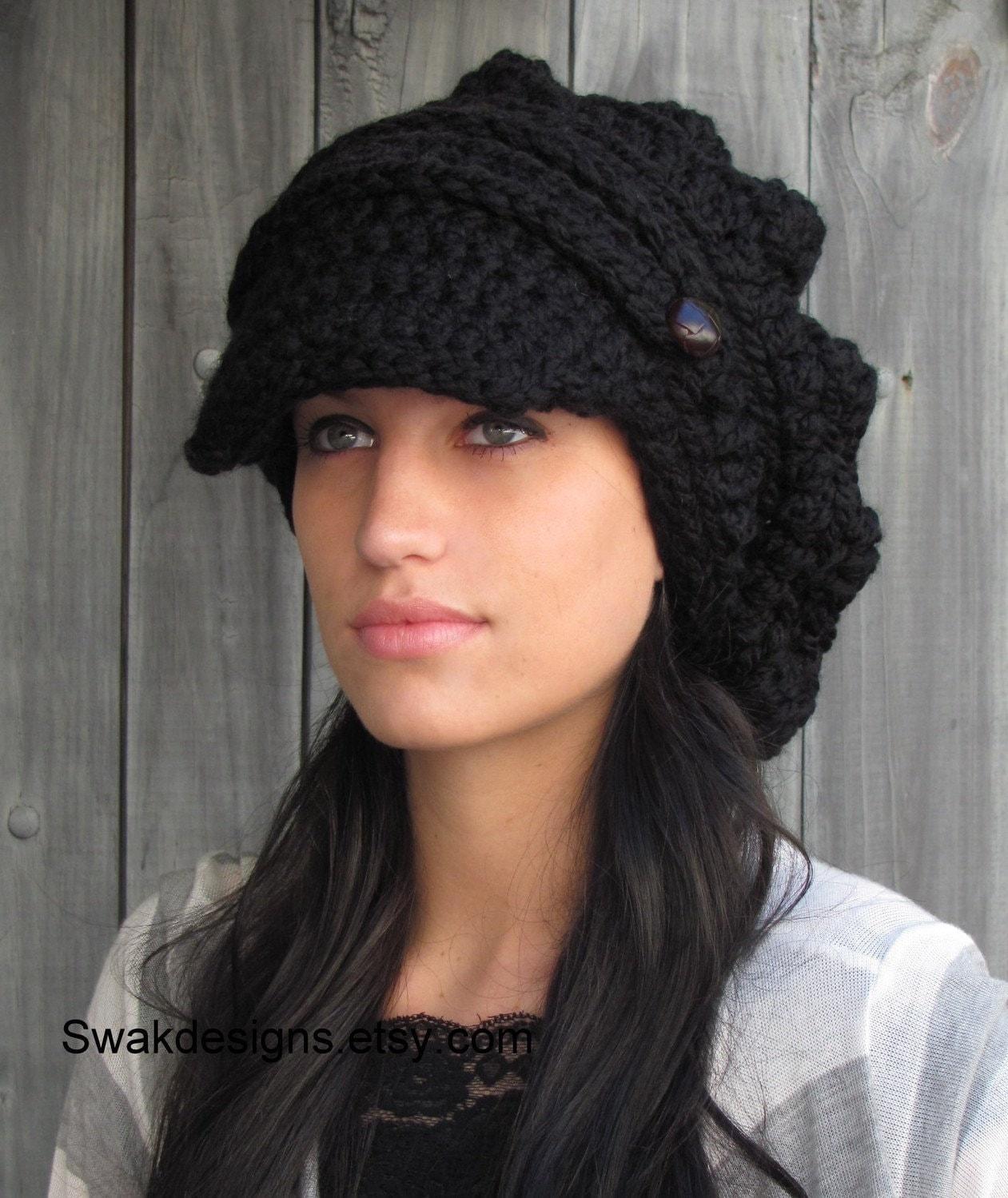 Free crochet newsboy hat patterns for women car release date black slouchy womens newsboy hat chunky beanie brim handmade bankloansurffo Images
