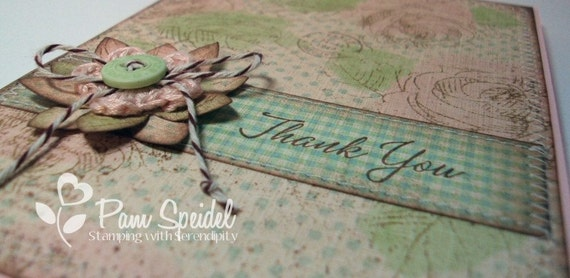 Rubberstamped Stitched Shabby Chic THANK YOU Card