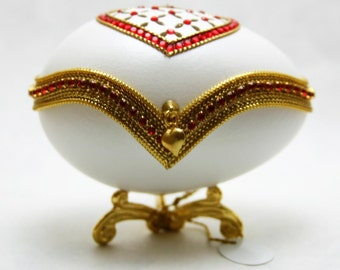 Jeweled Have A Heart Faberge Style Decorated Egg