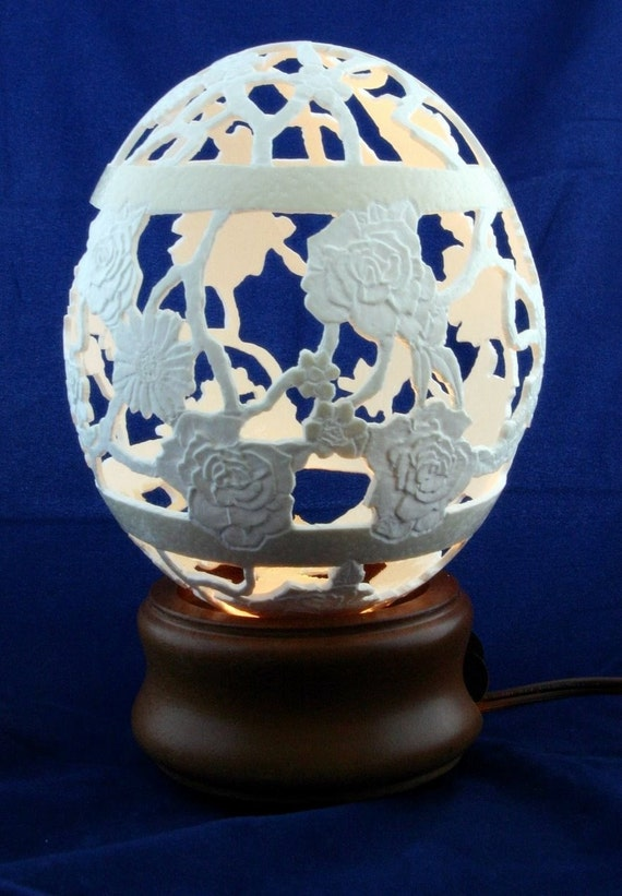Rose Trellis Intricately Hand Carved Ostrich Egg FREE SHIPPING