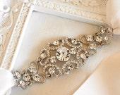 Bridal Ribbon Rhinestone Headband Hair Accessory - Gracie