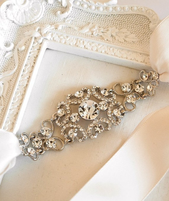 1920s Bridal Headband, Vintage Headpiece, Gatsby Wedding headband, blush, bridal headpiece - GRACIE