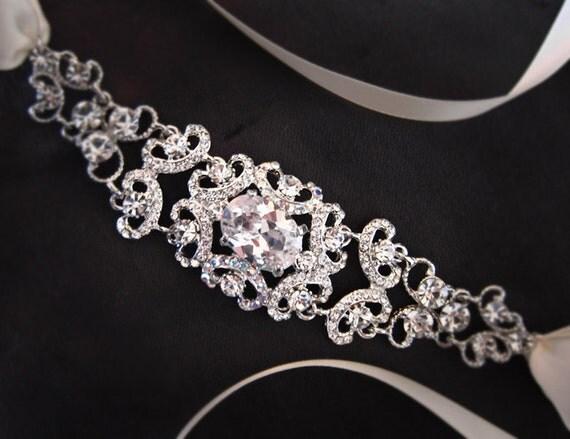 Bridal Ribbon Rhinestone Headband - Elle
