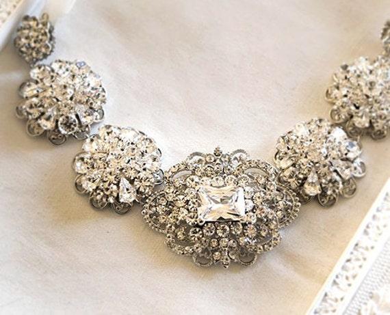 Bridal Rhinestone Statement Ribbon Necklace -- Crystal Wedding Brooch Necklace Vintage Style - wedding jewelry - Isabel