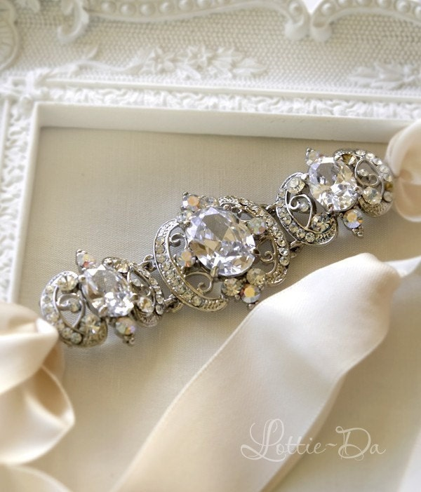 rhinestone ribbon bridal headband anya