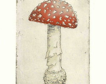 Print of Mushroom Etching