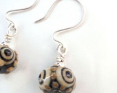 Silver Earrings, Lampwork Beads, Black or Tan Hues - GildedOwlJewelry