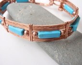 Turquoise and Copper Bracelet, Spring Clasp, Bangle, Unisex 7 and a Half Inches