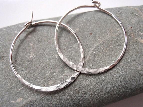 18 gauge Hoop Earrings Hammered Silver Medium Hoop