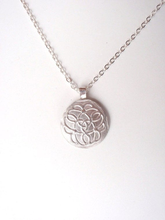 Celtic Knot Floral Pendant of Pure Silver, Sterling Silver Necklace