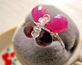 Sapphire Garnet Butterfly Ring