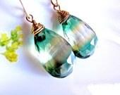 Reserved for M. - Emerald Golden Topaz Leaf Drop