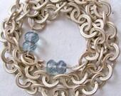 STOREWIDE 50 PERCENT DISCOUNT - Cuffs Bracelet \/Pink Silver with Mystic Blue Quartz