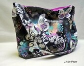 Butterfly Filigree slouch tote bag purse tote hobo with Michael Miller fabrics Charcoal purple flowers