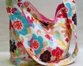 4 Day Sale prices reduced Slouch tote Smallfloral multi color Butterfly Print slouchy tote bag purse hobo with Moda Just Wing it fabric