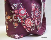Slouch tote Large floral multi color slouchy tote bag purse hobo with Amy Butler Love fabric