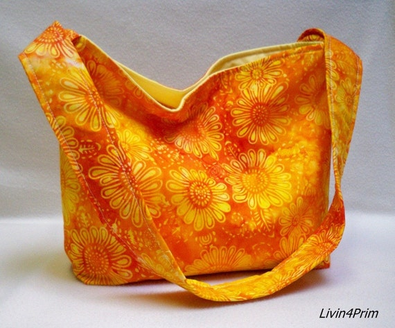 BIG 24 hour clearance Sunflower Batik slouchy tote bag purse tote hobo for Kelly