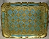 Vintage Made in FLORENCE ITALY This is a Wonderful Gilt Gold and Robins Egg Blue TRAY For Either Your Vanity For Serving Or Dining