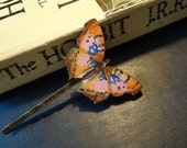 Butterfly Bobby Pin: Pink and Blue, Natural History, Bohemian Woodland Accessories by AlpineGypsy on Etsy