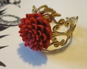 Chrysanthemum Ring: Chinese Red, Gold Plated Filigree, Adjustable, Kawaii Flower Blossom Jewelry by AlpineGypsy on Etsy