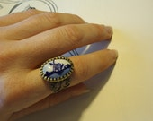 Delft Blue Porcelain Ring: Vintage Dutch Windmill, White Cobalt Blue, Brass Filigree, Traditional Folk Jewelry by AlpineGypsy on Etsy