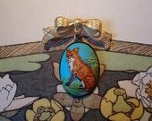 Fox Brooch: Turquoise Blue, Vintage Woodland Cameo, Gold Bow, Boho Folk Jewelry by AlpineGypsy