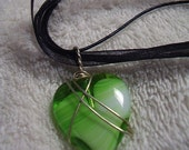 Wire Wrapped Green Heart in Silver Pendant