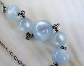 Upcycled vintage pastel baby blue moonglow lucite sterling silver necklace - Spring Fashion - handmade jewelry