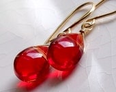 Candy apple red ruby glass briolette drop earrings - 14k gold filled - wire wrapped jewelry handmade - neon fashion