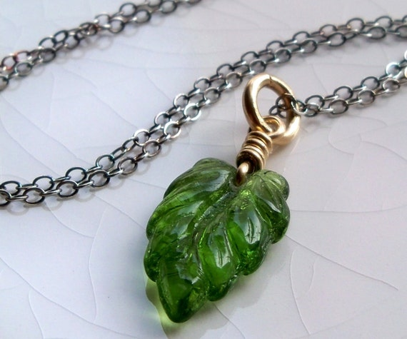 Sterling silver and gold filled Czech glass emerald green leaf necklace - handmade jewelry mixed metals - Spring fashion