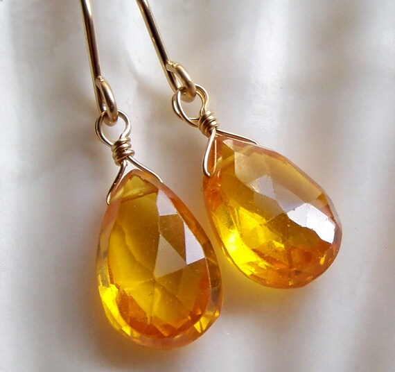 Bright canary neon yellow zircon drop earrings - Gold filled semiprecious bright yellow gemstone handmade jewelry - Spring fashion