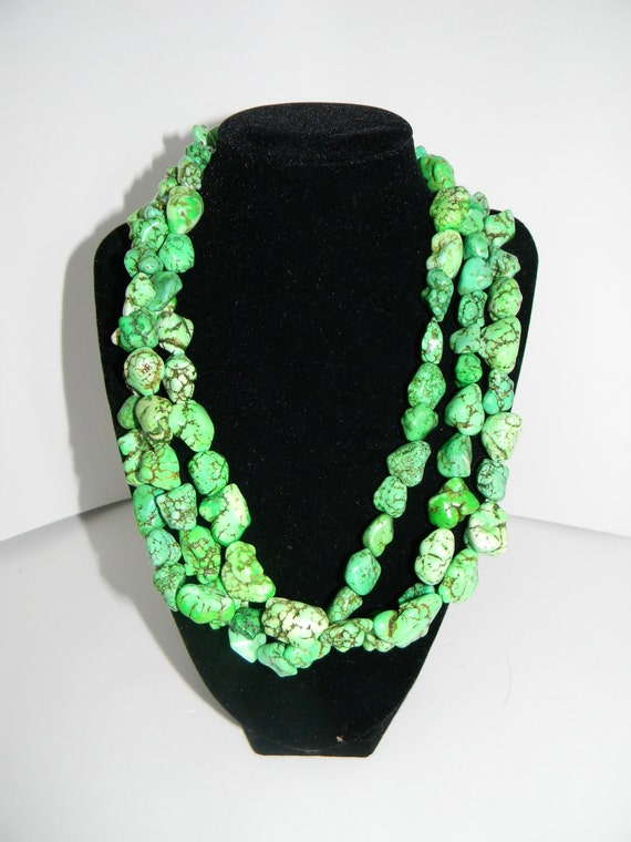 Multistrand Bright Green Dyed Coral made to resemble Turquoise Beaded Necklace