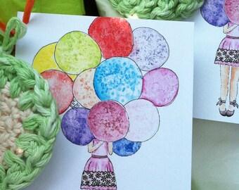Birthday Balloons watercolor print flat note card fashion illustration