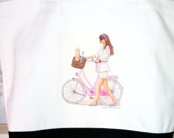 Bike ride watercolor print canvas bag reusable fashion illustration