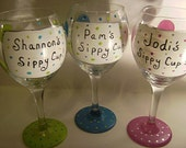 Personalize Your Name Hand Painted Wine Glass