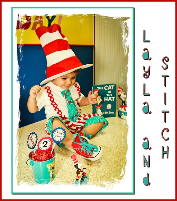 Layla and Stitch Boys Birthday 2 pc  Necktie shirt and shorts made with Vintage Cat in the Hat fabric .  VERY LIMITED