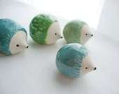 Herd Of Hedgehogs Set of 4 Clay Animal Sculptures in Green and Blue
