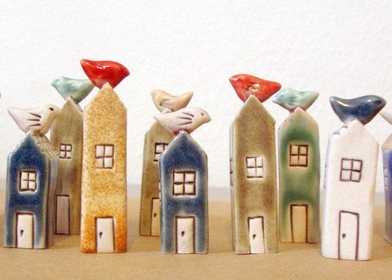 Tiny Clay House Blue Green  with Bird