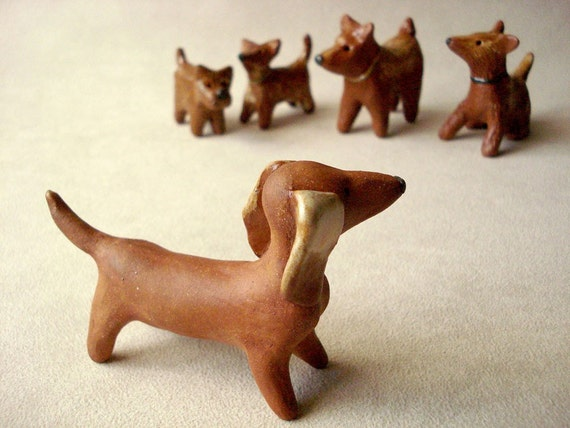 Mini dachshund dog clay sculpture