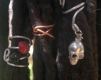 SALE Dreadlock Coils Wraps Beads - Set of 3 OOAK
