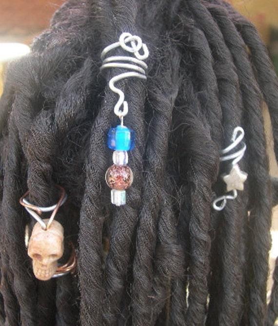 SALE Dread Coils Wraps Beads- Set of 3 OOAK