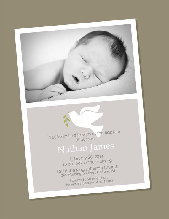 Dove - Custom Photo Baptism Invitation