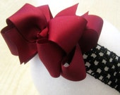 Maroon Wine Hairbow - Double Layered Hair Bow - Boutique Burgundy Bows - Princess Hairbow - Girls Holiday Bows - Baby Headbands