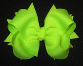 NEON Lime Green Bright Boutique Hair Bow 2 Layers of Ribbon and Spikes Fun Classic 5 inch Hairbow