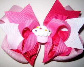 Happy Birthday Triple Layered Hair Bow BIG Boutique Princess Hairbow Pink Cupcake