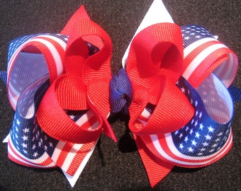 American Flag Triple Layered Hair Bow BIG Boutique Princess Hairbow Patriotic Red White Blue
