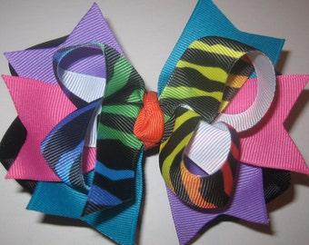 Rainbow Zebra Bright Triple Layered Hair Bow BIG Boutique Princess Hairbow Purple Pink Green Blue Yellow