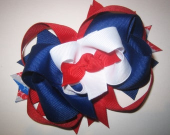 Patriotic Large Boutique Hair Bow Fancy Layers of Red White and Blue Loops and Spikes for Baby Toddler to Little Girl