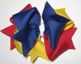 Girls Hairbows, Boutique Hair Bow, Carnivals and Circus Clowns, M2M m2mg Hair Bow, Primary Colors Hair Bows, 5 Inch hairbow, Twirly Hairbow